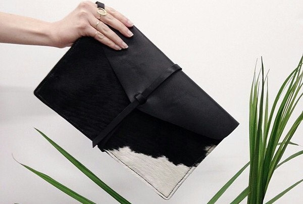 Minnie + George Calf Hair Envelope Clutch in Black