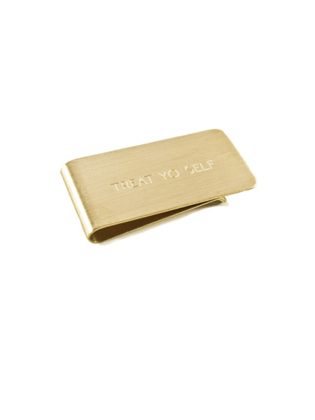 "In God We Trust Brass Money Clip - ""Treat Yo Self"""