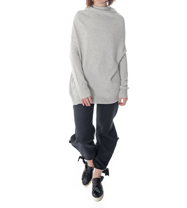 08sircus Grey Angora Mock Neck Sweater