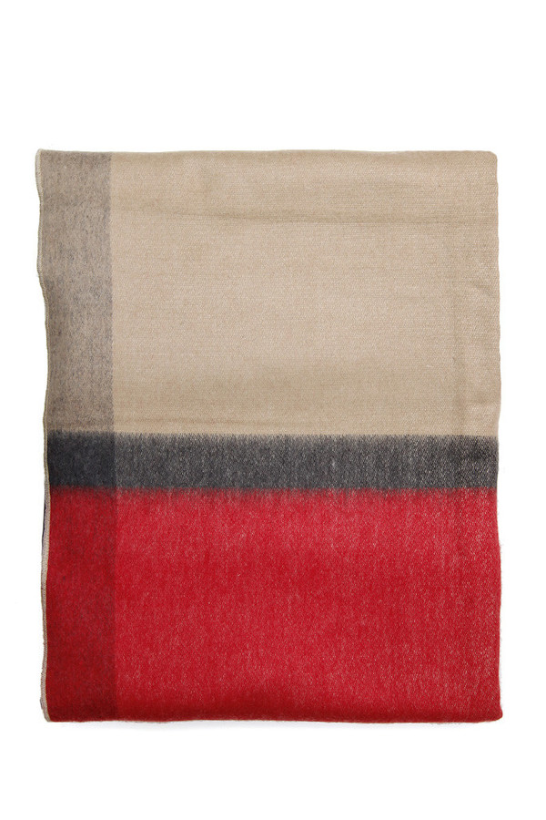 Alpaca Wool Blanket Beige Red Stripe