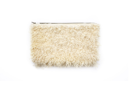 Primecut CREAM CURLY SHEEP OVERSIZED CLUTCH