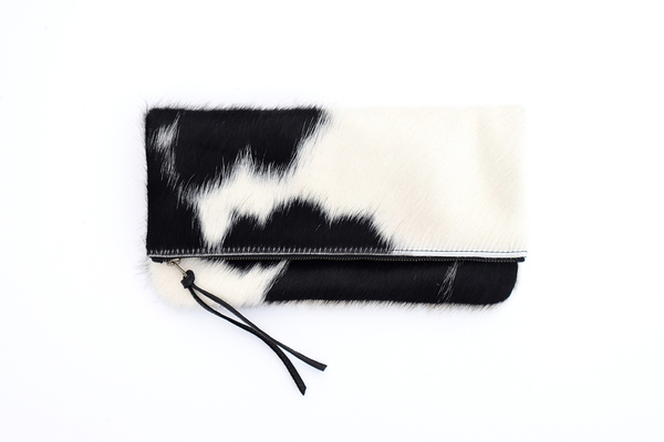 Primecut BLACK + WHITE FOLD OVER CLUTCH