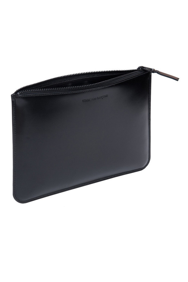 Comme des Garcons Leather Lg Zip Pouch - Very Black