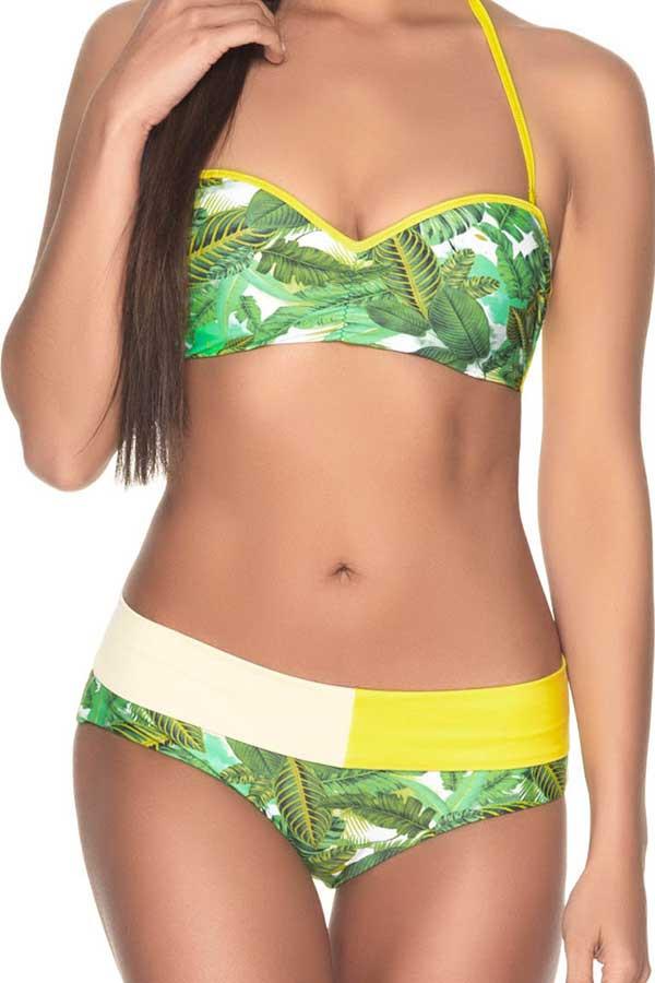 Estivo Two Piece Bandeau Bikini Top in Jungle Greens