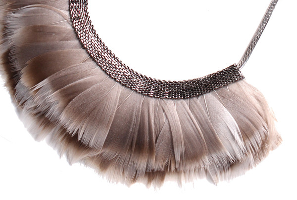 Serefina Mesh Feather Bib Statement Necklace