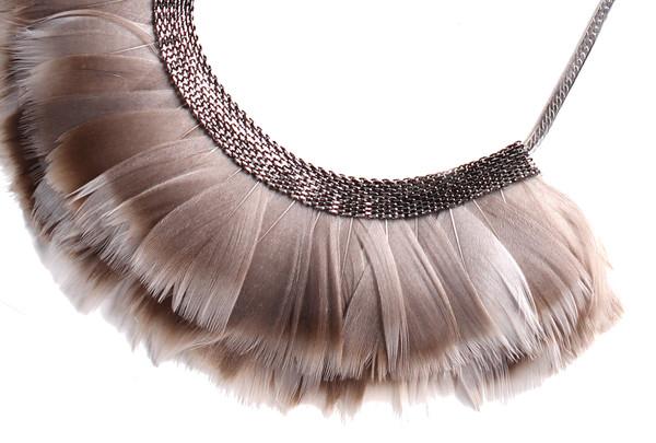 Serefina Mesh Feather Bib Statement Necklace