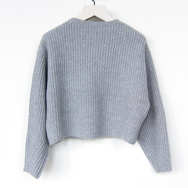 Organic by John Patrick cropped rib pullover - gray melange