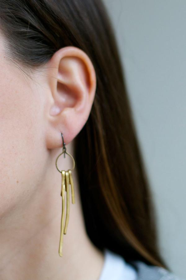 Folk Vertical Brass Triad Earring