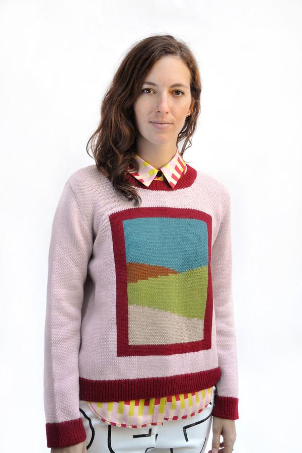 Dusen Dusen Pink Combo Frame Sweater