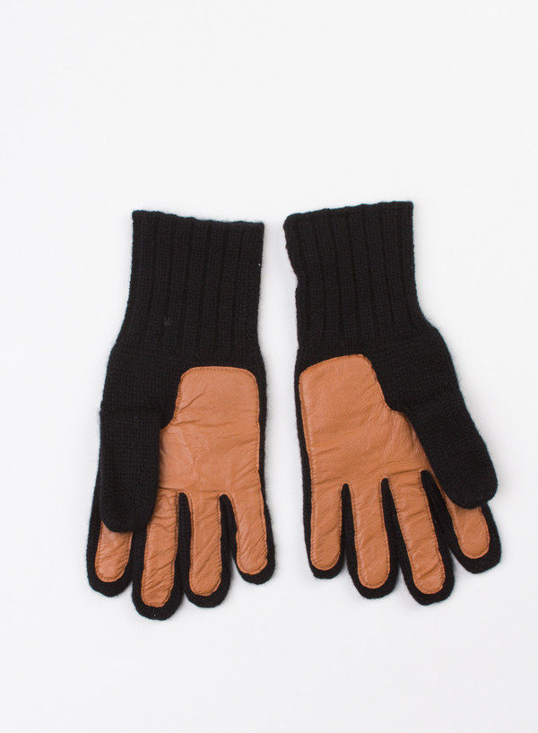 Men's Alex Mill Cashmere Leather Gloves Black