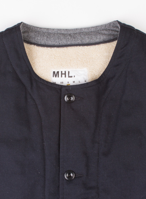 Men's MHL Margaret Howell Jerkin Cavalry Twill Navy