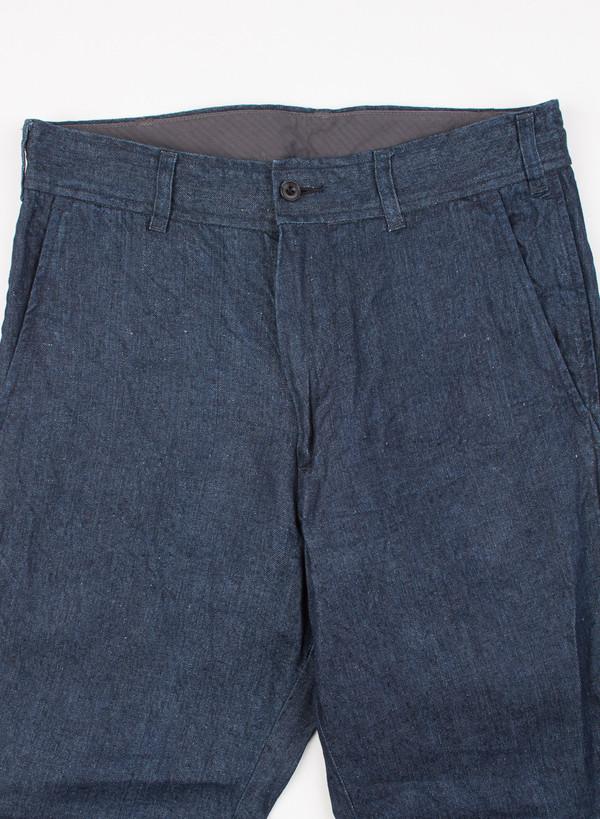 Men's Needles Linen Denim String Cuff Pant Indigo
