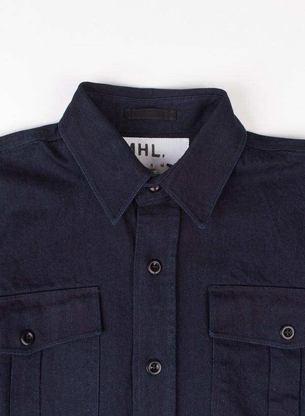 Men's MHL Margaret Howell Naval Overshirt Yarn Dye Indigo