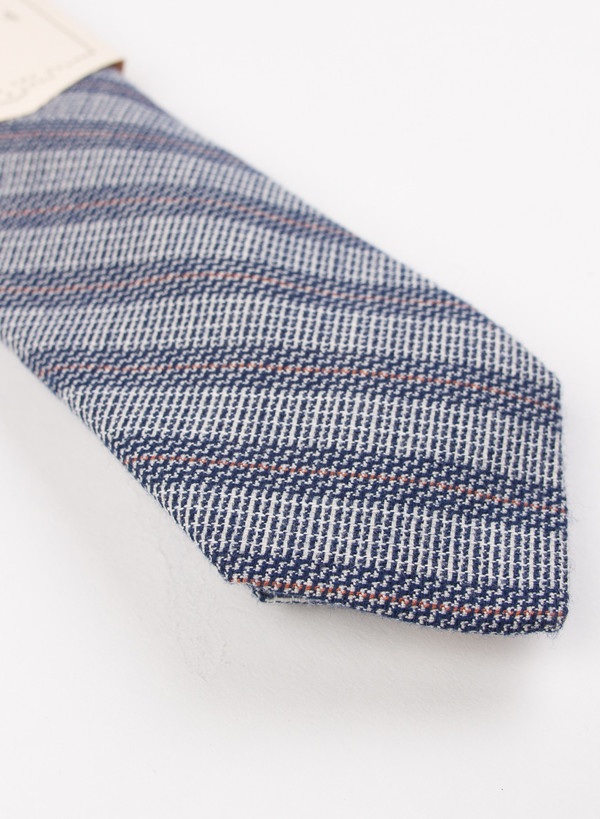 The Hill-Side Pointed Tie Basketweave Twill Stripe Navy