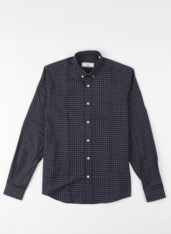 Men's AMI Alexandre Mattiusi Small Checked Flannel Marine