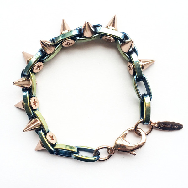 Joomi Lim Double Row Rose Gold Spike Bracelet
