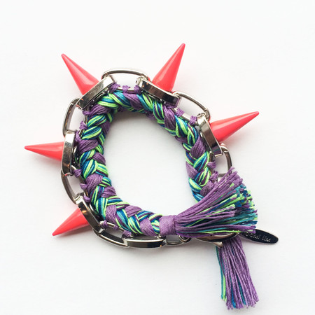 Joomi Lim Painted Spikes & Braided Cotton Bracelet