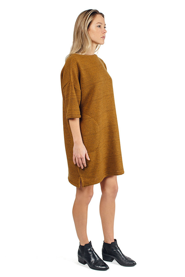 Priory Melli Dress Wool Boucle Mustard