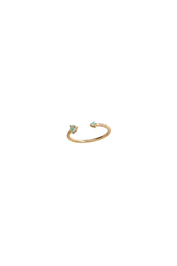 WWAKE Open Opal & Diamond Ring 14KYG
