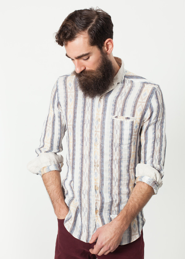 Men's DNL Linen Western Shirt in Beige/Blue