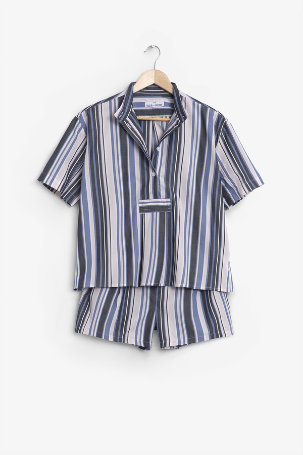The Sleep Shirt Short Sleeve Cropped Sleep Shirt and Pleat Short Set Blue and Pink Stripe