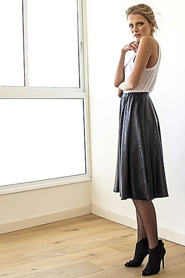 Blush Black Metallic Midi Skirt