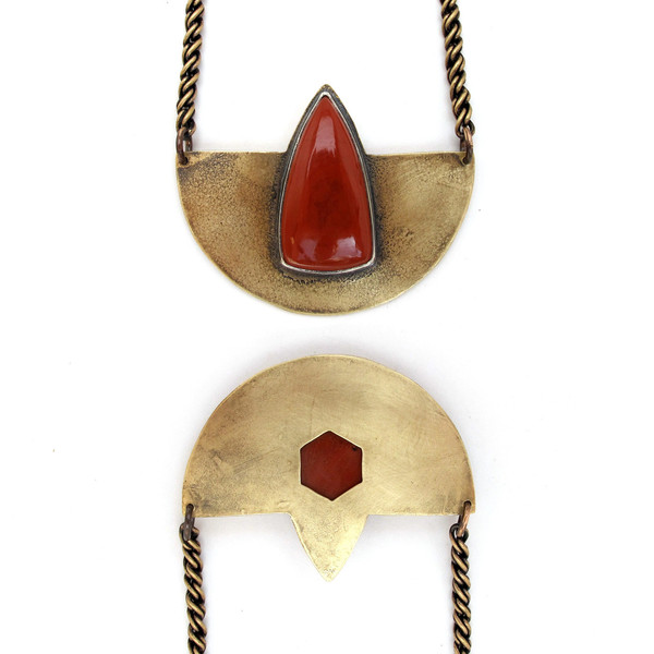 Laurel Hill Compass Necklace with Red Jasper