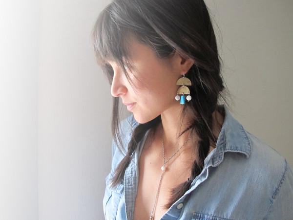 Laurel Hill Stone Veil Earrings // turquoise & moonstone