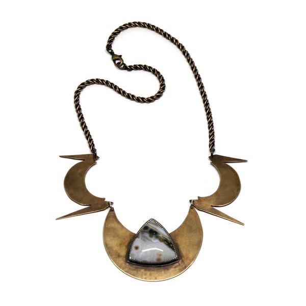 Laurel Hill Triple Crescent Shield Collar with Ocean Jasper // OOAK