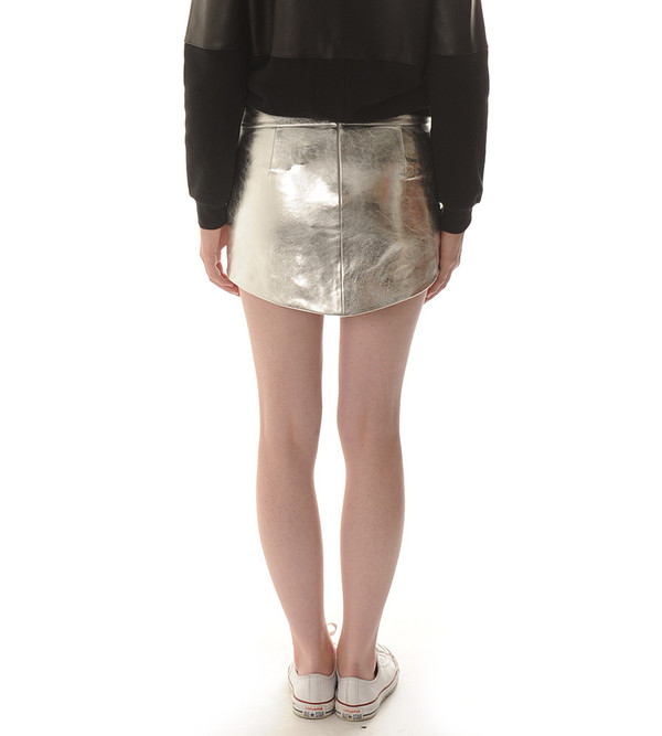 Mason By Michelle Mason Silver Mini Skirt