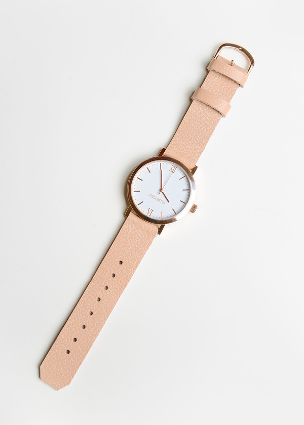 Berg + Betts Rose Gold Round Watch in Pale Pink