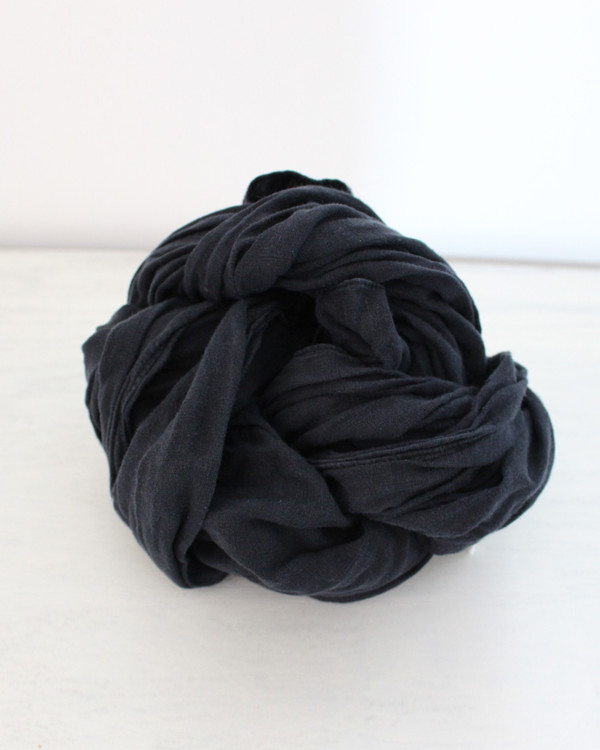 esby LINEN LARGE SCARF - BLACK