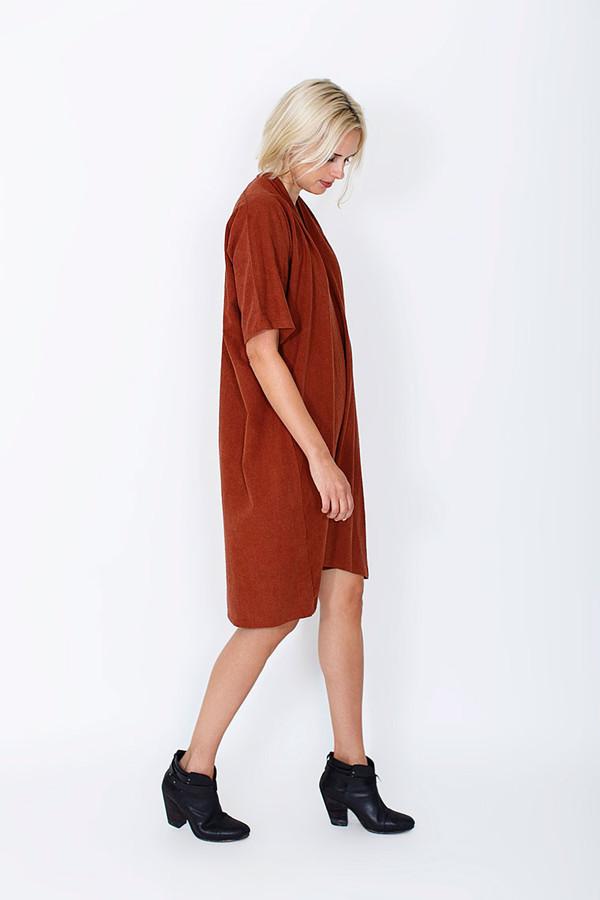 Miranda Bennett Muse Dress, Silk Noil in Rust