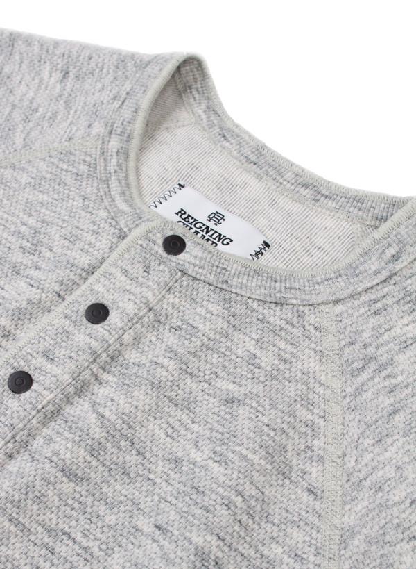 Men's Reigning Champ Knit Mesh Jersey Short Sleeve Henley Concrete