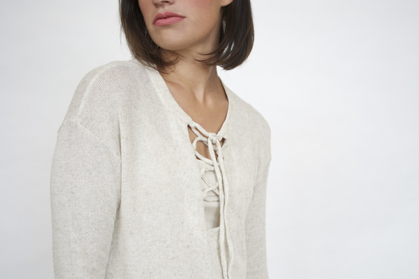 LNA Lace up Blouse