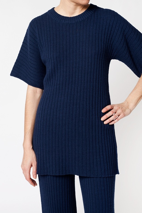 Creatures of Comfort Dropped Shoulder Ribbed Top - navy