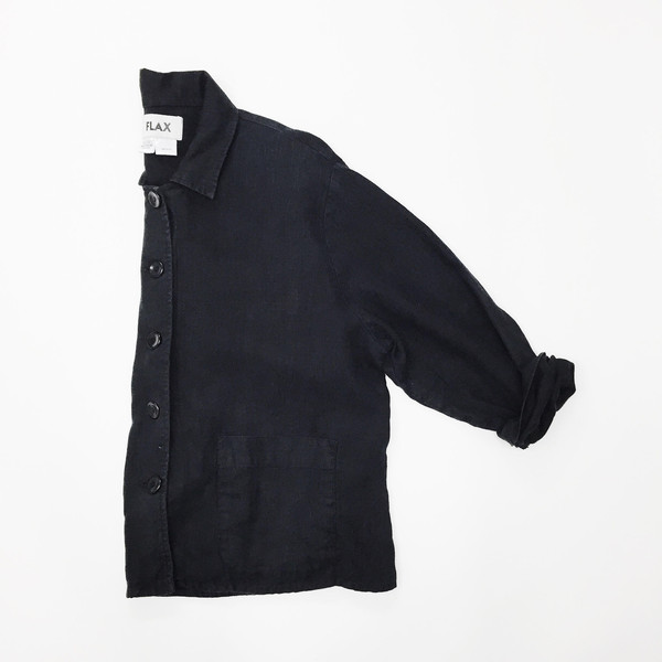 Johan Vintage Black Linen Jacket