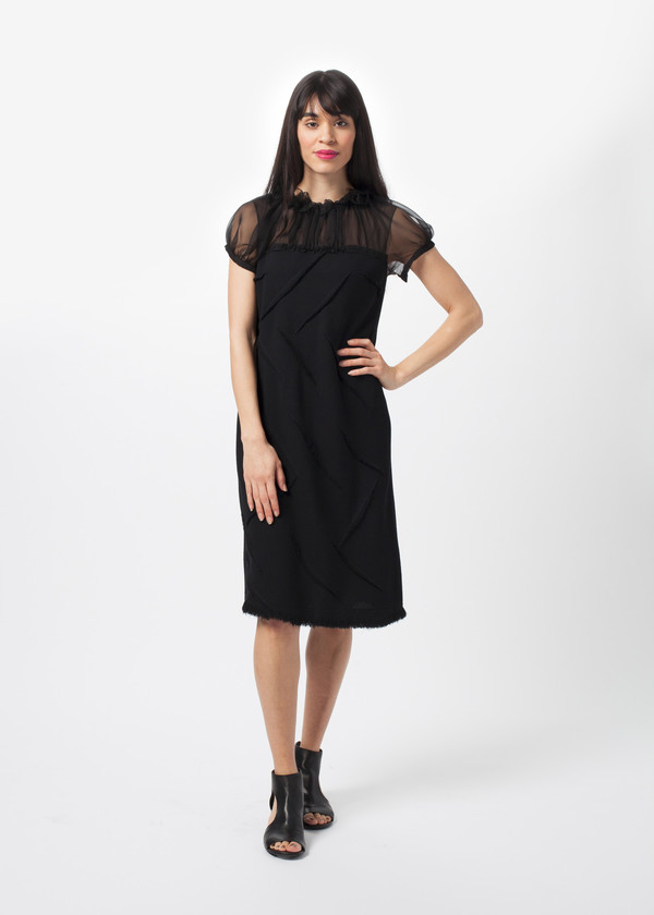 Amelia Toro Fringe Crepe Dress