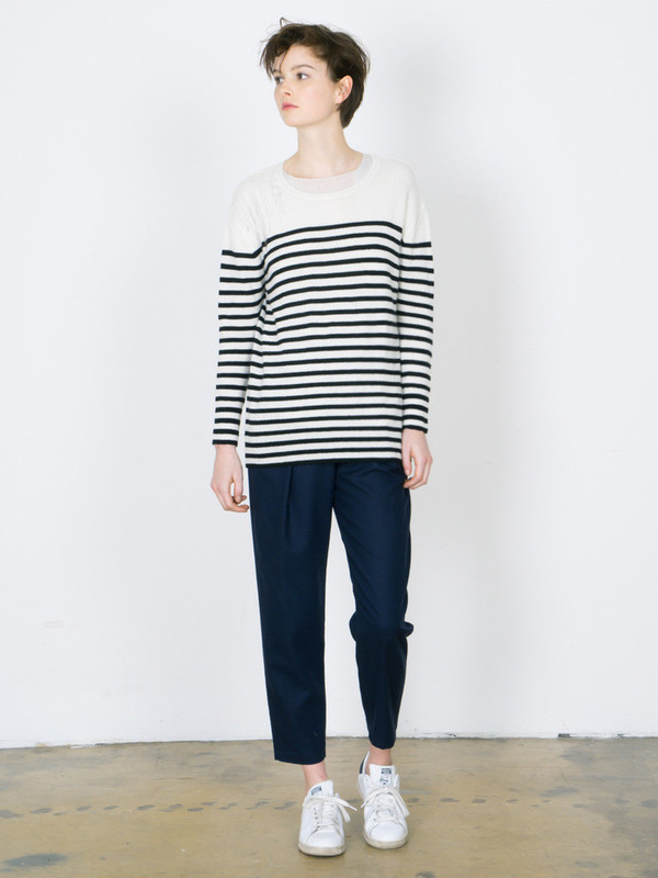 RAQUEL ALLEGRA STRIPE CASHMERE SHRED SHOULDER PULLOVER