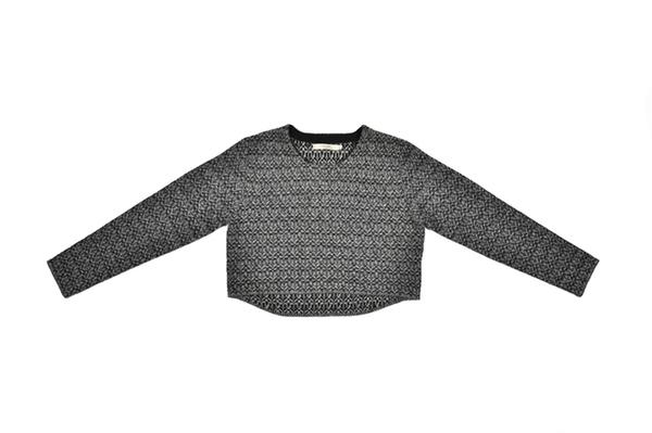 7115 by Szeki Cropped jacquard sweater