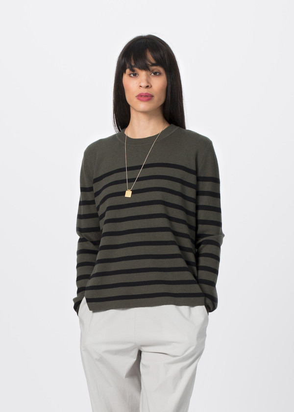 Organic by John Patrick Stripe Pullover with Slits