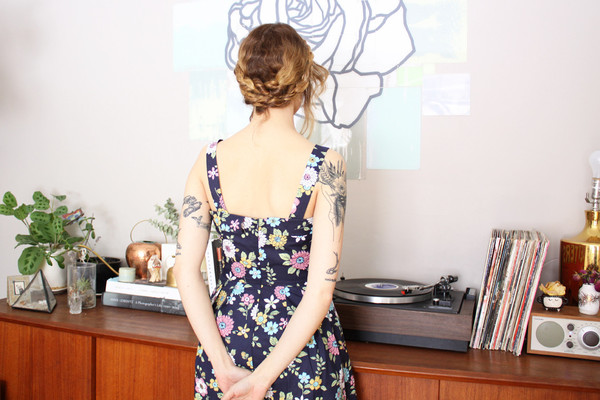 Birds of North America - Sylph Dress (Navy Floral)
