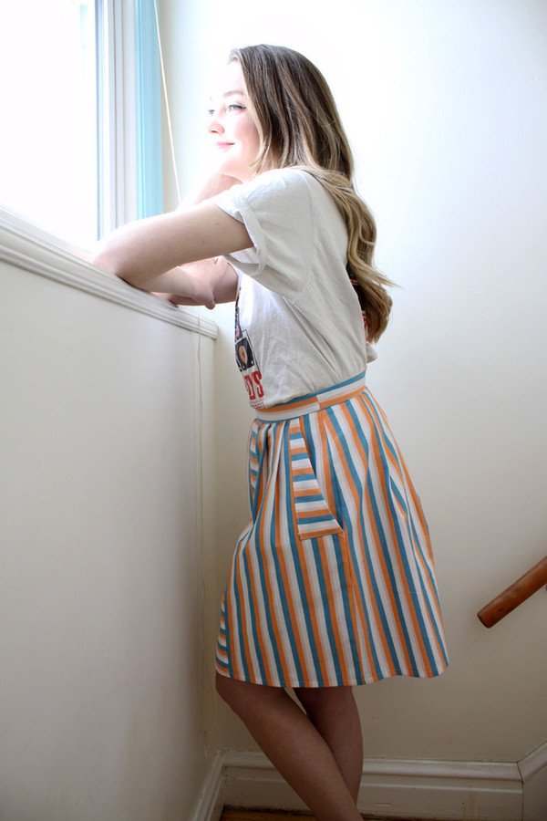 Birds of North America Grackle Skirt (Peach/Sky)