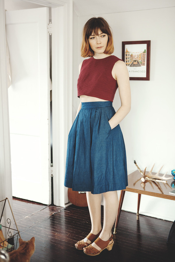 Birds of North America Songlark Skirt (Dark Wash)