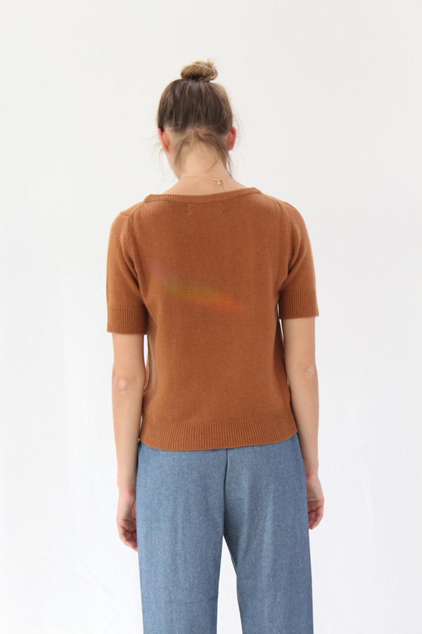 Lina Rennell Cashmere Top Saddle