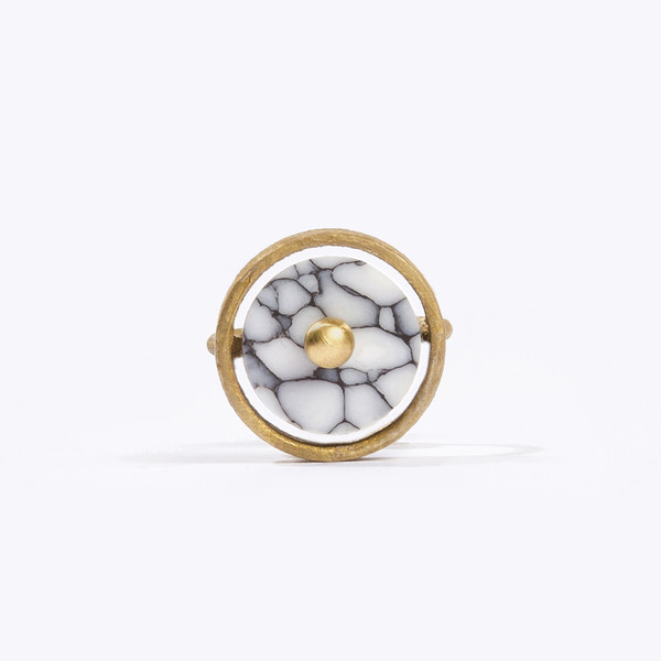 Metalepsis Projects Disc Ring - White Stone