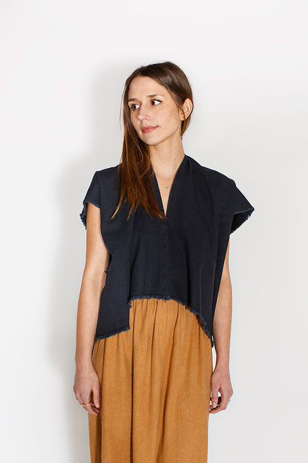 Miranda Bennett Everyday Top, Cropped, Denim in Black