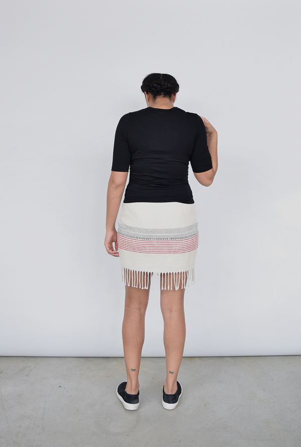 Fifteen Twenty Natural Fringed Mini Skirt