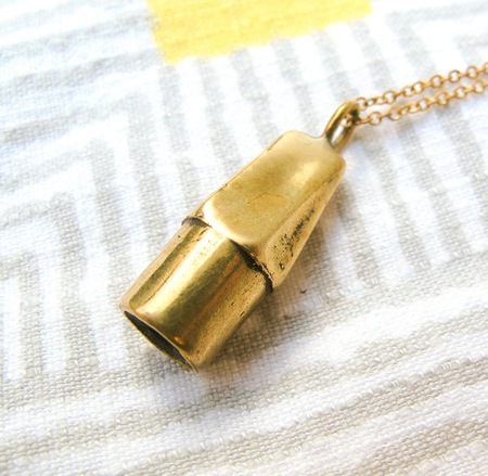 Gold Teeth Brooklyn Eraser Necklace in Brass