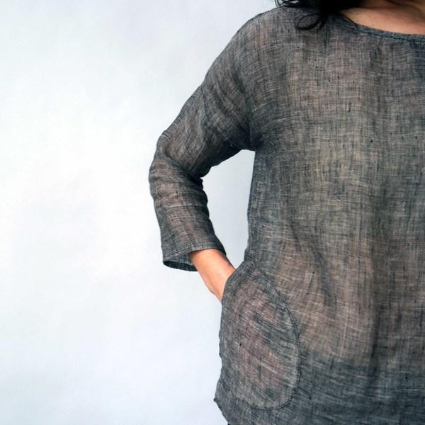 Modaspia Drop Sleeve Blouse in Black Linen